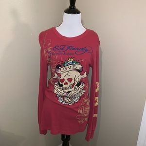 Ed Hardy sequined long sleeve t shirt